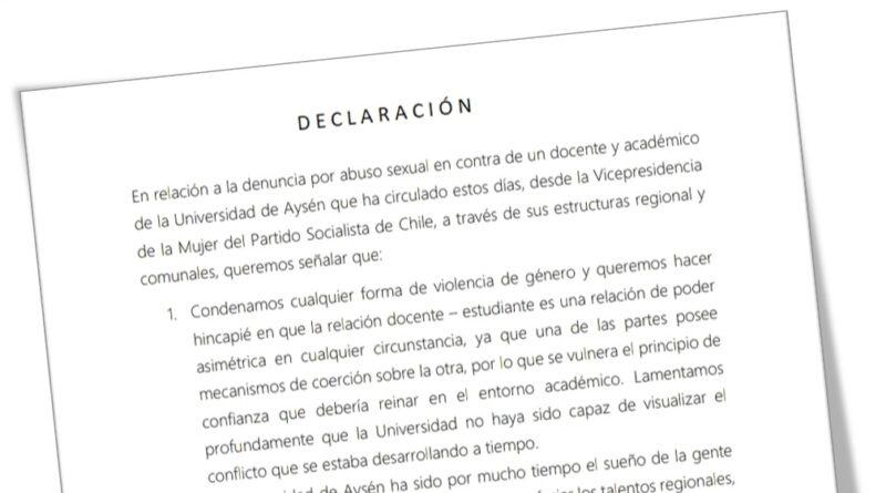 """Mujeres Socialistas llamaron a U. Aysén a ser más """"activa"""" y """"empática"""" ante denuncias de género"""