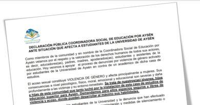 Coordinadora Social de Educación por Aysén exige a rectora Pino acciones inmediatas de apoyo