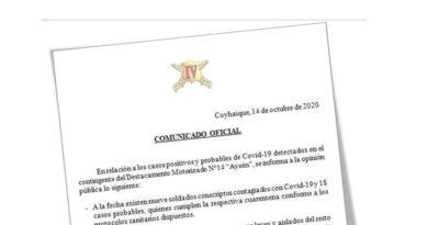 9 soldados conscriptos con COVID-19 confirmó el Ejército en Coyhaique