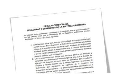 Senadores de Oposición exhortan a Presidente Piñera a promulgar ley del 3er retiro de las AFP